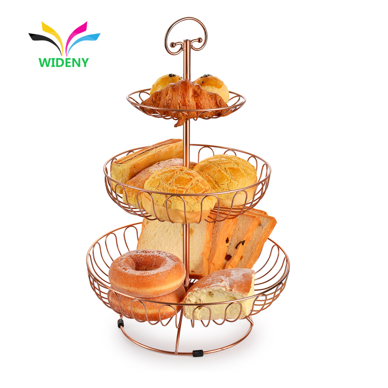 Factory Supply Wholesale Kitchen Fashion design 2 tier mesh metal wire fruit basket