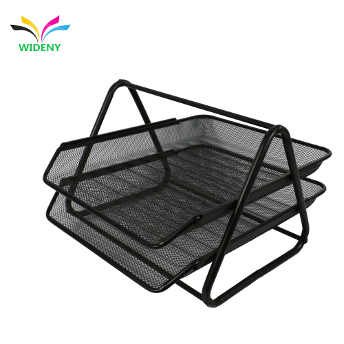 custom stationery pu office supplies black metal wire mesh file folder document tray desk organizer