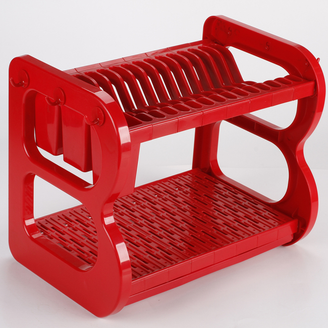 Manufacture Direct Sale Multiple Colors Plastic Kitchen Stand Dish Drainer Rack With Hook