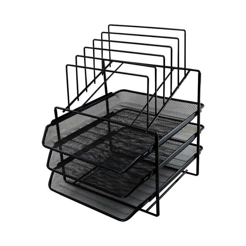 Home Office School Supplies Custom Stationery Black Metal Wire Mesh File Folder Document Tray Desk Organizer File