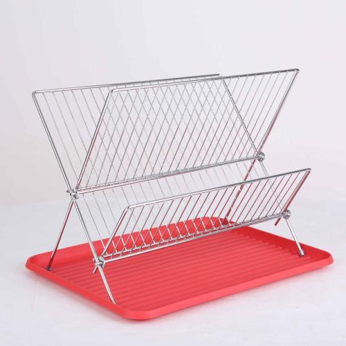 Manufacturer direct selling folding dish rack kitchen shelf drainage rack with plastic water tray