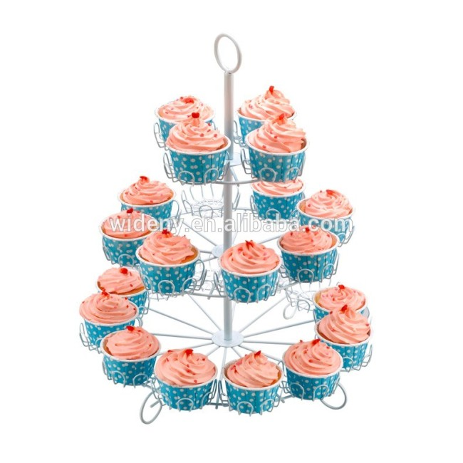 3 tier foldable wedding decorating decorative fancy rotating mini wire metal candy cup cake cupcake holder
