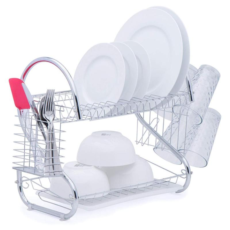 Hot Sale home Kitchen tableware organizer 2 Tiers folding white metal the Sink bowl Rack for drainer