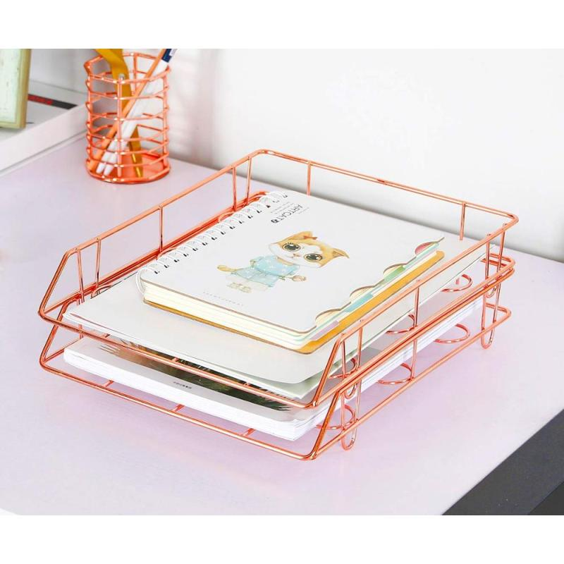 Factory Suppliers Office Wire metal mesh desk file organizer set rose gold stackable paper document  3 layer File Tray