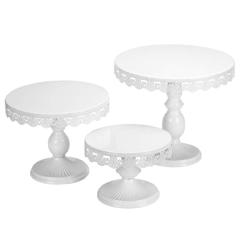 Set of 3 Cake Stands Round White Adjustable Metal Dessert Display Cupcake Cake Stand for Party Wedding