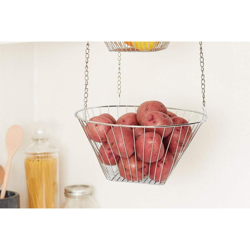 High Quality Wholesale Wire Metal Hanging for Kitchen and Wedding Decoration Fruit Iron Basket Stand