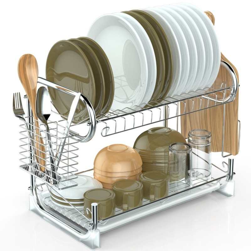 High Quality Wholesale Stainless Steel Kitchen  Organizer Food Bowl Shelf Eco-friendly Drying Dish Rack