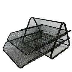 custom stationery pu office supplies black metal wire mesh file folder document tray desk organizer