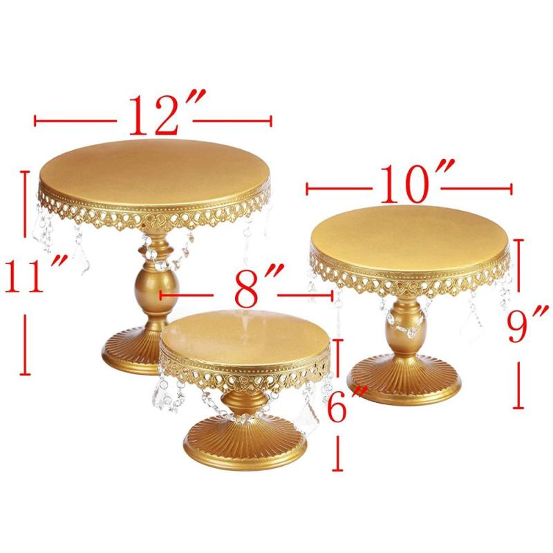 Round Gold Metal Iron 3 pack Crystal Cake Cupcake Stand for Wedding Party