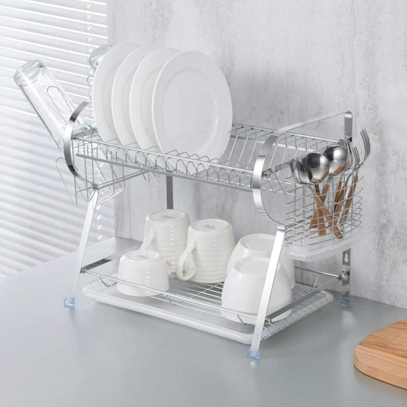 Home kichen R type folding 2 tiers metal dish drying rack with cup rack and hooks