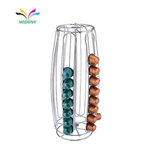 Dolce Gusto Customizable Oval Bucket Shape Hollow Rotating Metal Coffee Capsule Rack Iron Wire Coffee Capsule Rack