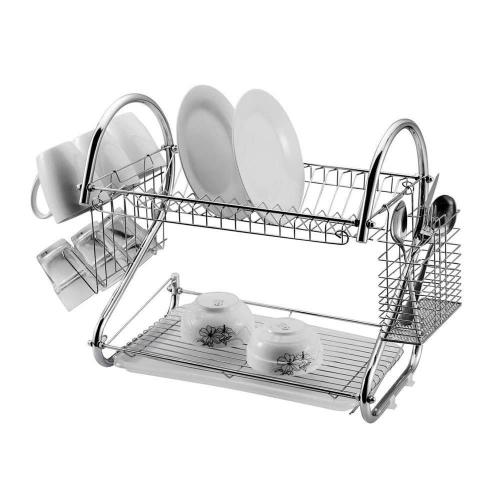 Kitchen Use Large Capacity Stainless Steel Chrome Plated Metal Wire 2 tier dish drying rack for Cutlery Cup Bowl