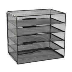 Wideny Office Black Metal Wire Mesh 5 Tier Assembly Adjustable Desktop File Sorter Storage Organizer