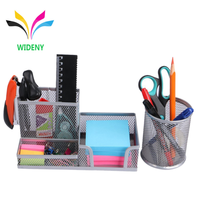 3 compartment black mesh desk table organizer office and school