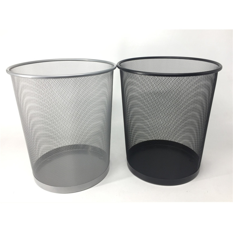 Wideny Office & home Iron mesh black hotel stainless steel wire metal round kitchen garbage trash bin
