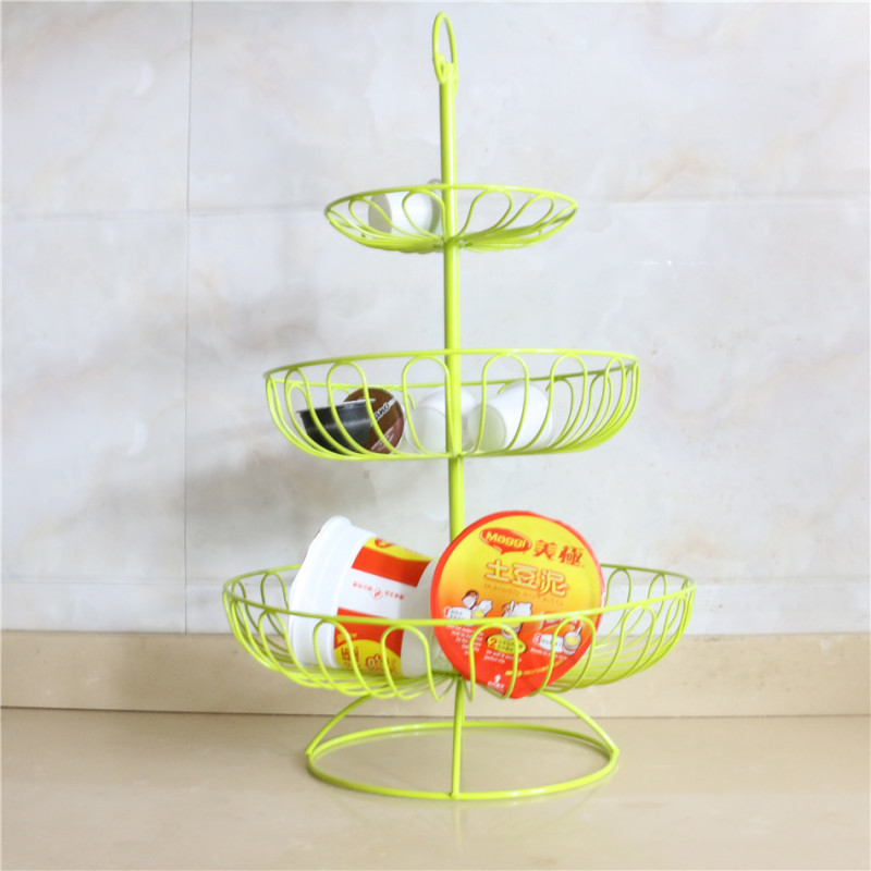 Wideny Home wire metal Desk Desktop foldable kitchen 3 tier folding fruit basket