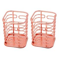 Wholesale Supply Office Supplies table top Rose Gold  metal wire Pen Holder for Desk Makeup Brush Organizer