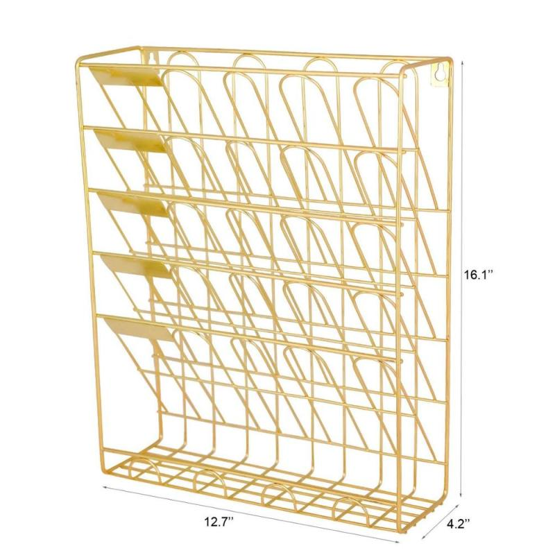 Office school household metal mesh wall mounted hanging wire gold document file holder