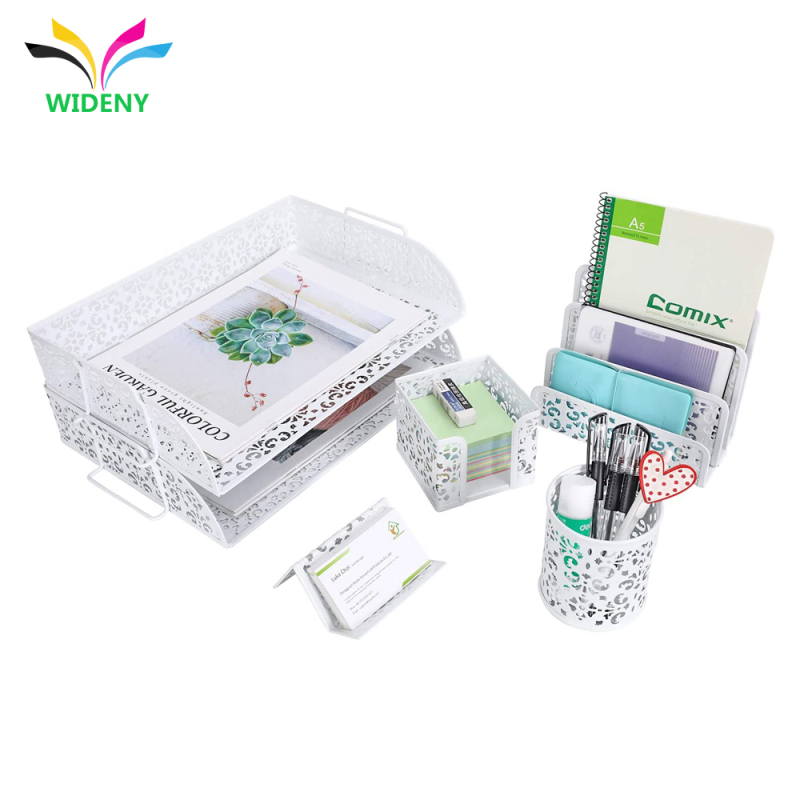5 in 1 Desk Organizer Set  2 Tier Desk Tray Pen Holder Office Home use Powder Coated Office Stationary Set