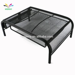 Office home school black metal mesh wire desktop organizer laptop computer monitor stand with drawer