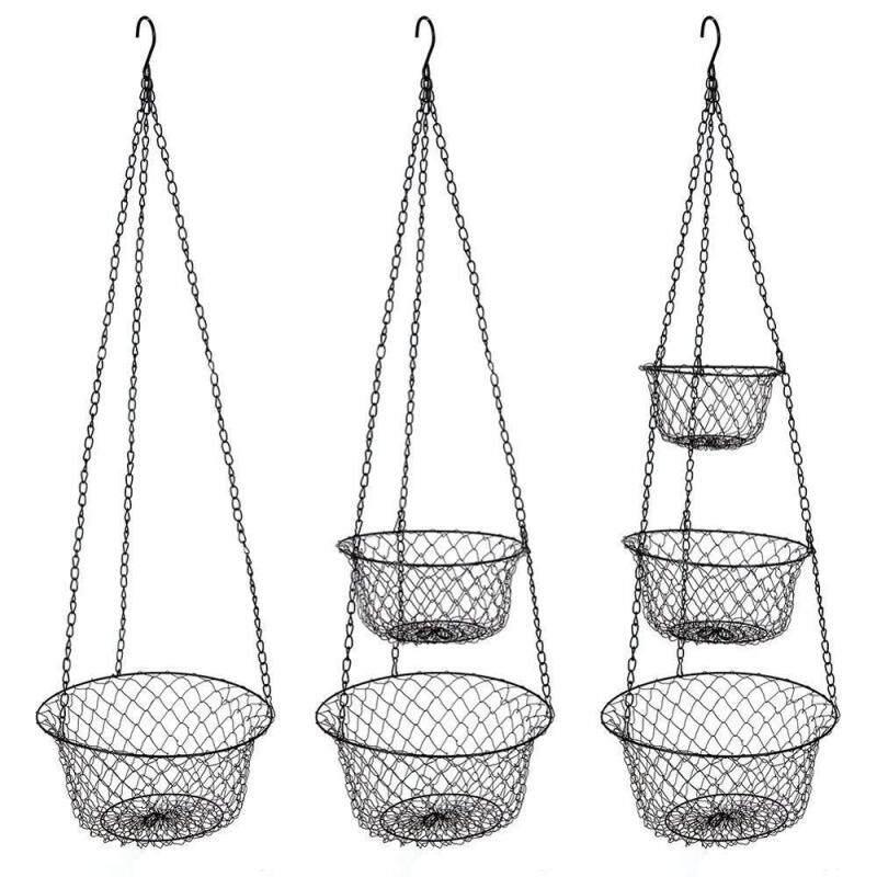 Wholesale best selling beautiful Custom folding metal 3 tier fruit vegetable basket