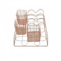 Wideny newest chrome plated school office home supply stationery wire metal mesh steel rose gold desk set organizer set