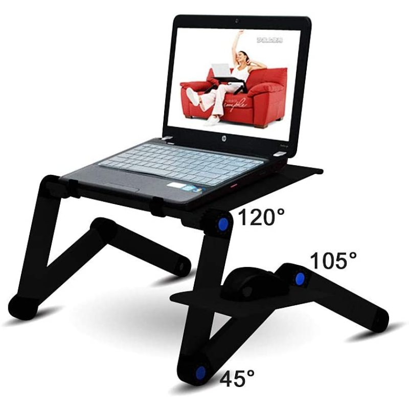 Home Working Use Aluminium Desktop Adjustable Portable Foldable Laptop table for Bed with Mouse Pad Cooling Holes