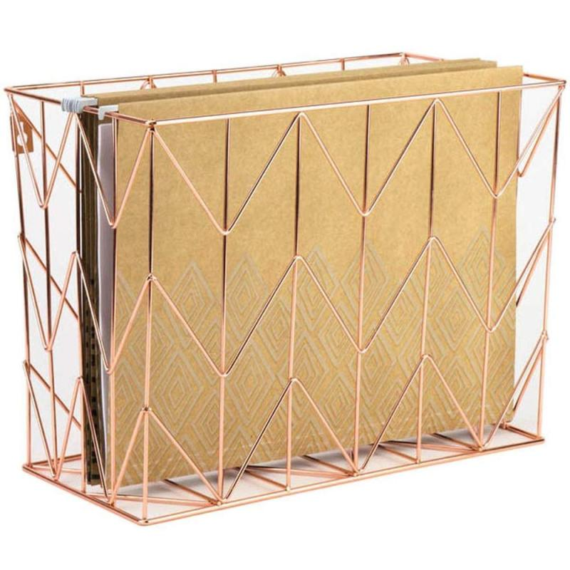 Eco friendly recyclable table organizer holder chrome plated wire mesh metal home office desktop supply rose gold storage box