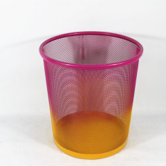 Promotional wideny powder coated custom design metal wire mesh double color round office paper waste bin