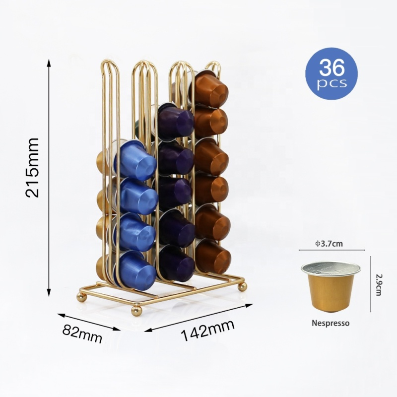 Unique dual-sided slim coffee pod holder Mountable Storage gold  Wire coffee capsule holder for nespresso