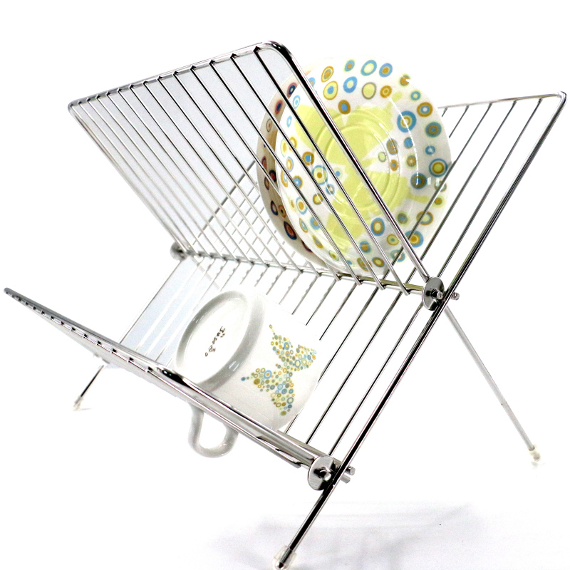 amazon hot sale kitchen single tier folding hanging stainless steel dish rack for dishes storage holders racks