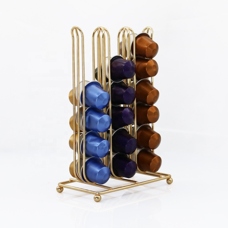 Durable smooth Gold plate Coffee Pod Holder Capacity 36 Coffee Capsule Stand