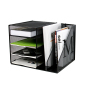 Office Metal mesh Desktop stationery Black Foldable 4 tier horizontal Letter Tray  Desk File Organizer
