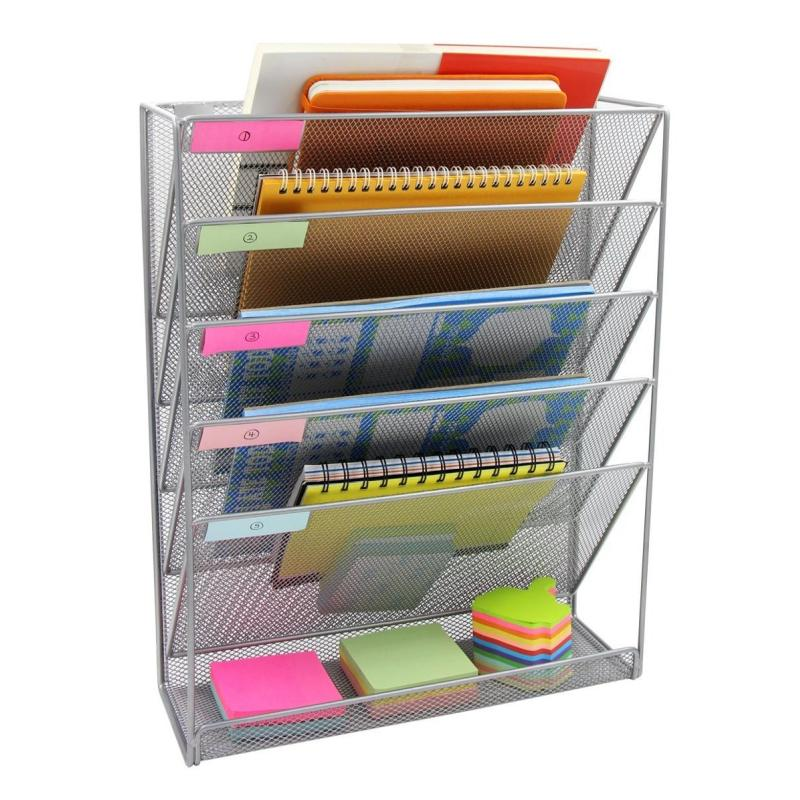 Amazon hot sale office stationery wire metal black wall mounted file organizer