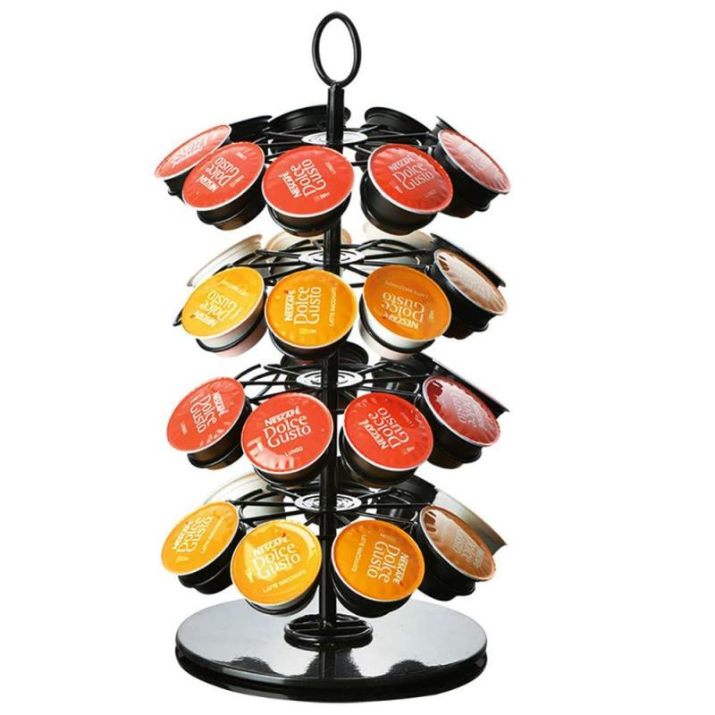 Countertop Metal Folding Rotating Nespresso dolce Gusto T pod Catiffity coffee capsule rack for display stand storage holder