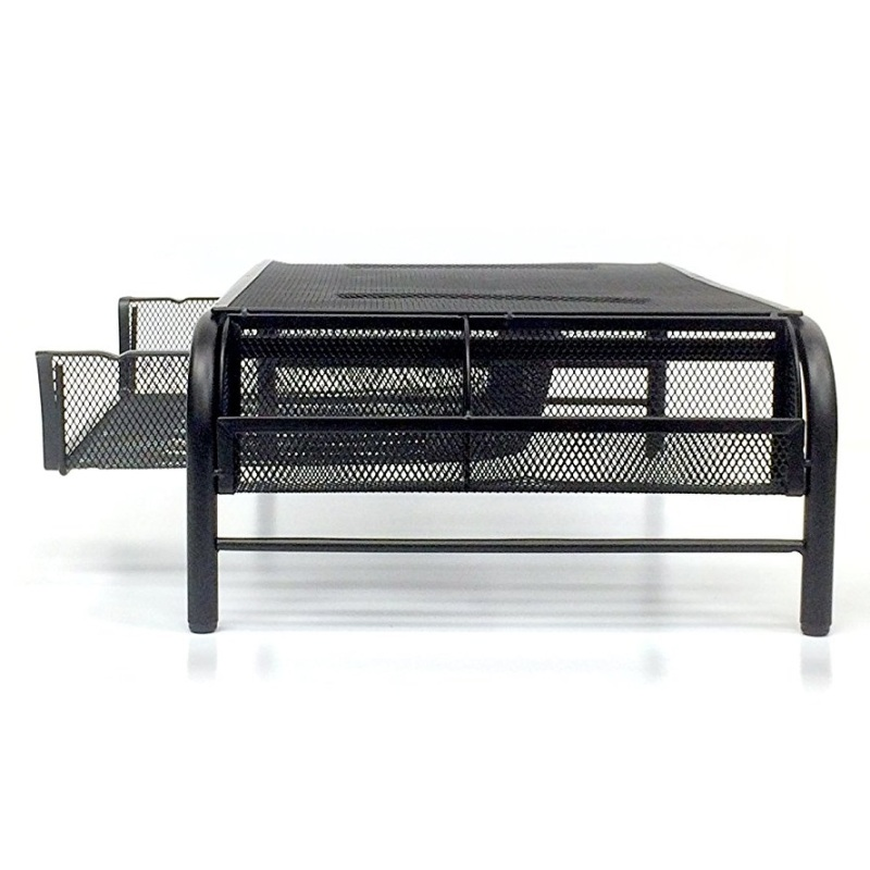 Office home school bank black desktop desk organizer table mesh metal computer monitor stand with drawers