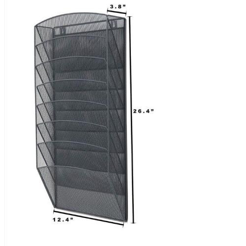 Amazon Office Home Storage Wall Mounted 8/10 Sections Racks Hanging File Organizer Metal Mesh Magazine Document Holder