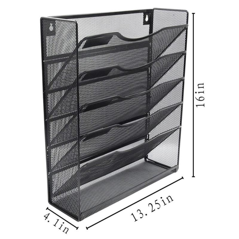 wholesale Office stationery supplies 5 layers  metal wire mesh wall-mounted file organizer