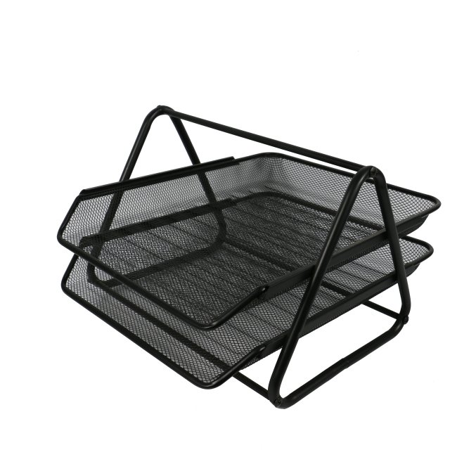 Home Office Desktop File Tray Detachable 2 Tiers Black Metal Mesh Stackable Desk File Document Organizer