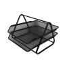 Home Office Desktop File Tray Detachable 2 Tiers Black Metal Mesh Stackable Desk File Document Organizer