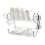 Sink Kitchen Rack with Removable Adjustable Cutlery Tray and Drainboard 2 Tier Wire Black Metal Dish Rack