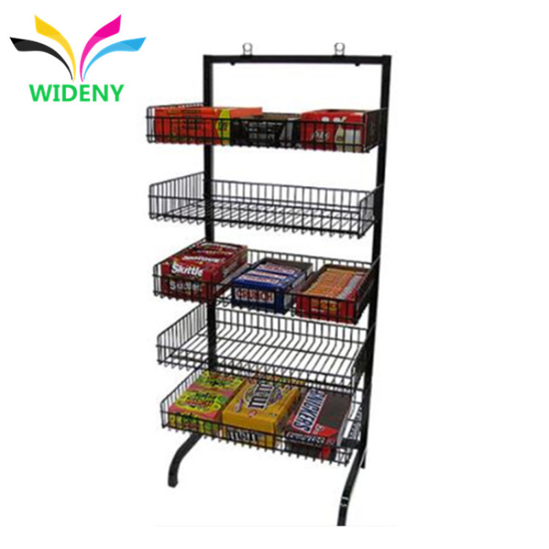 Wholesale 5 Tiers Shop Welding Sturdy Black Metal Wire Food Bread Cookies Chocolate Display Stand