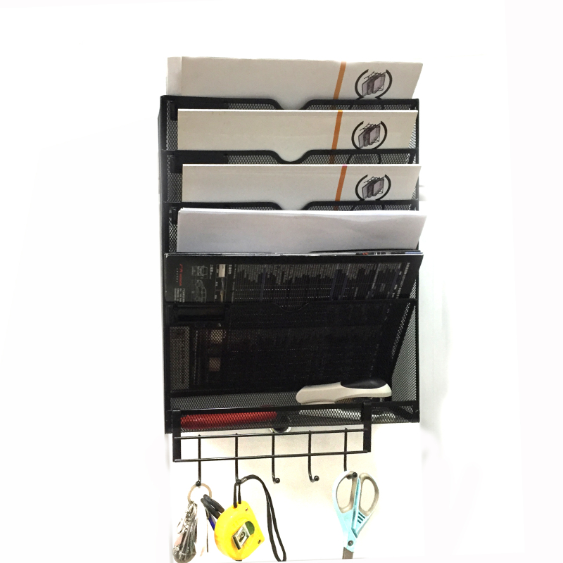 Space saving home office supply 5 tiers door mounted hanging wire mesh metal iron steel wall organizer with hook