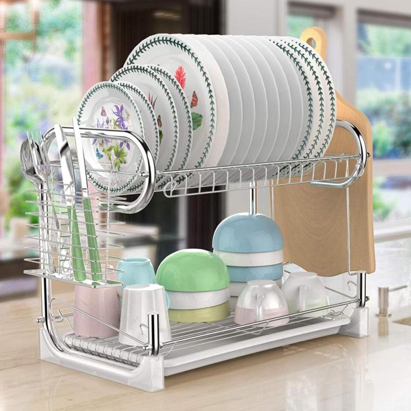 Wideny new high quality modern kitchen silvery metal 2 tier dish drying rack with tray