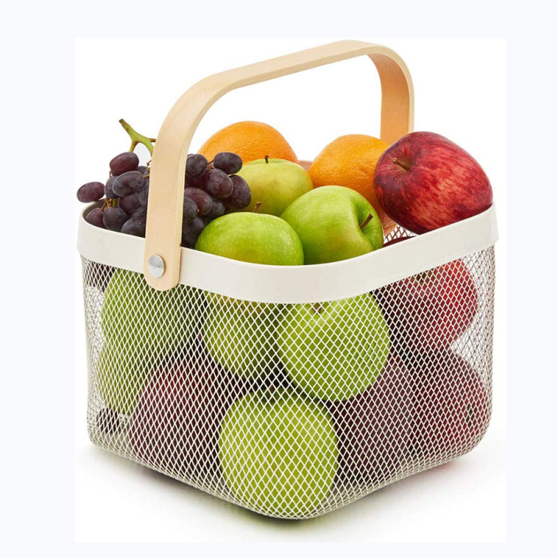 Wideny wholesale home supply multifunction storage holder white metal mesh iron fruit dish storage basket with handle