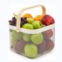 Wideny wholesale home supply multifunction storage holder white metal mesh iron fruit dish storage basket with handle