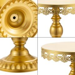 Hot selling fancy decorative Round metal Wedding set Variety of Golden cake stand