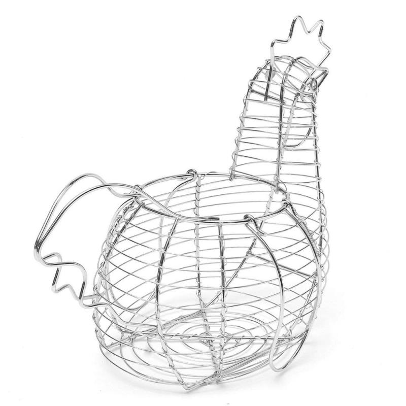 Manufacture Farmhouse Style Black Metal Kitchen Decorative Storage Iron Wire Chicken Design Egg Basket