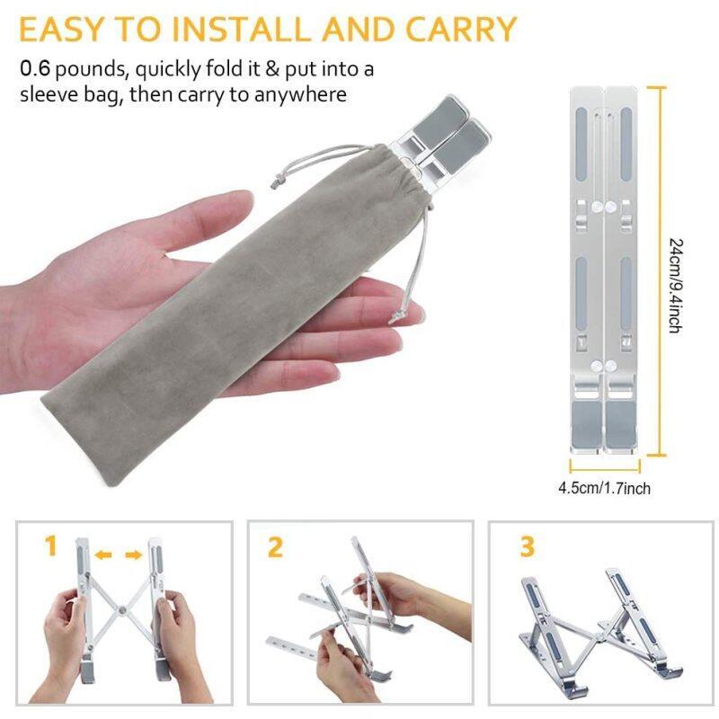 Home Office Multi-functional Ergonomic Aluminium Desktop Adjustable Portable Folding Light Laptop Stand for Bed Phone Holder