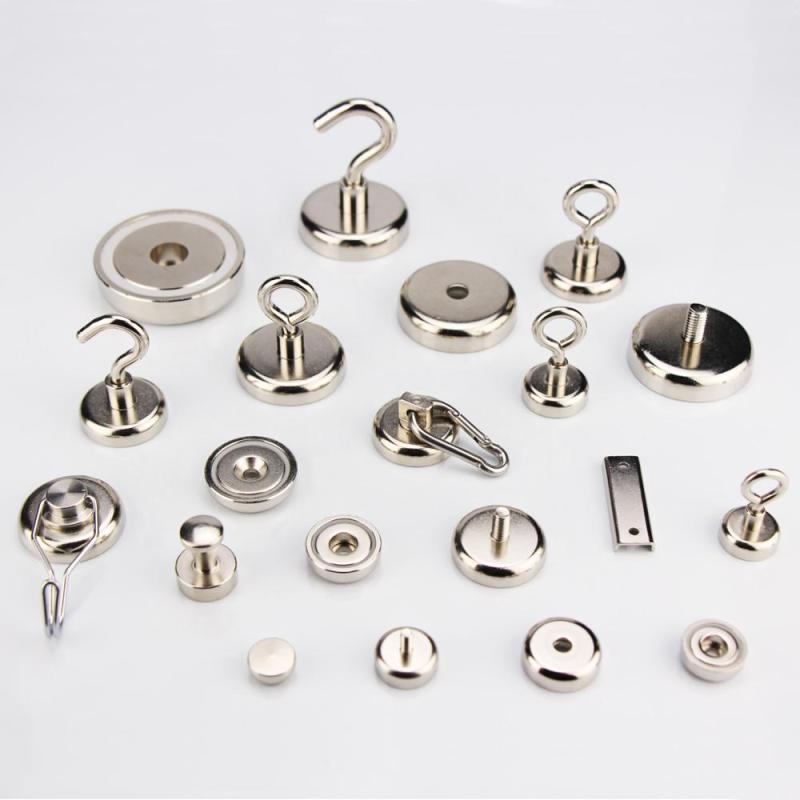 Bright Nickel coating Strong Magnetic Neodymium mounting Pot Magnet with External thread can install hook